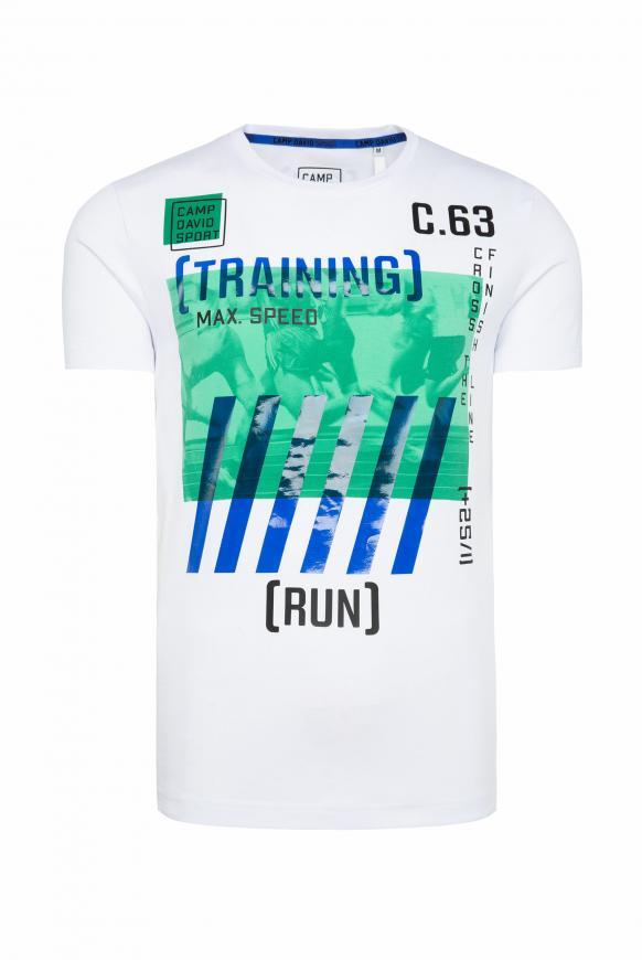 T-Shirt mit Rundhalsausschnitt und Artworks opticwhite