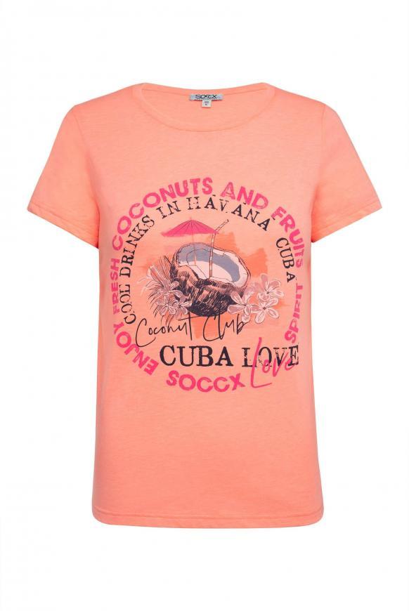 T-Shirt mit Rundhalsausschnitt und Druck spicy orange