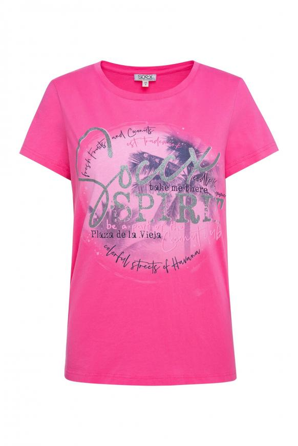 T-Shirt mit Rundhalsausschnitt und Druck oriental pink