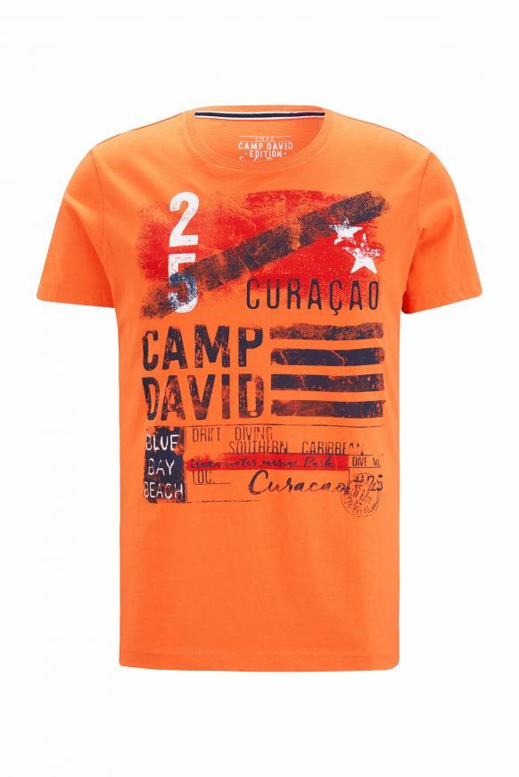 T-Shirt mit Rundhalsausschnitt und Frontprint mission orange