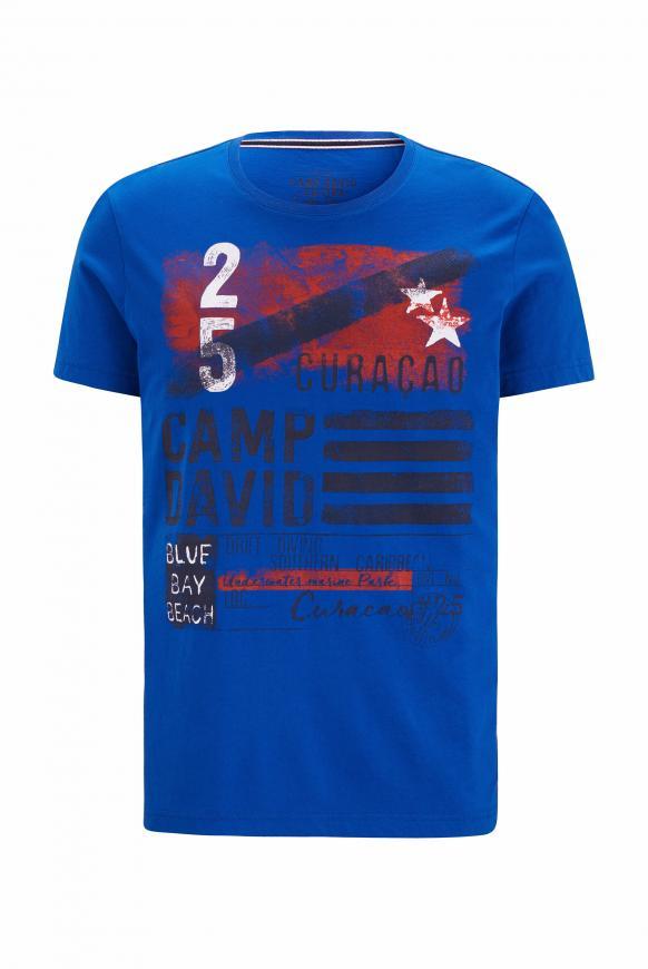 T-Shirt mit Rundhalsausschnitt und Frontprint flight blue