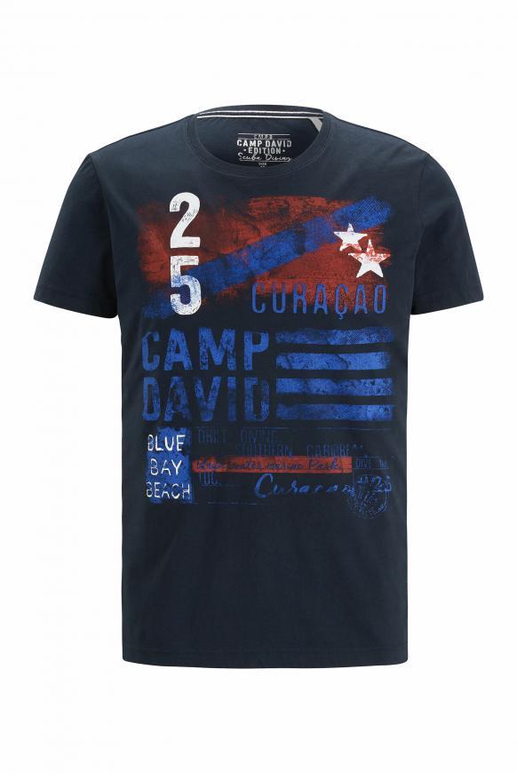 T-Shirt mit Rundhalsausschnitt und Frontprint space navy
