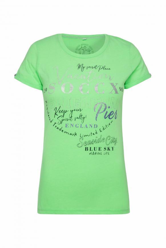 T-Shirt mit Rundhalsausschnitt und Frontprint lime punch