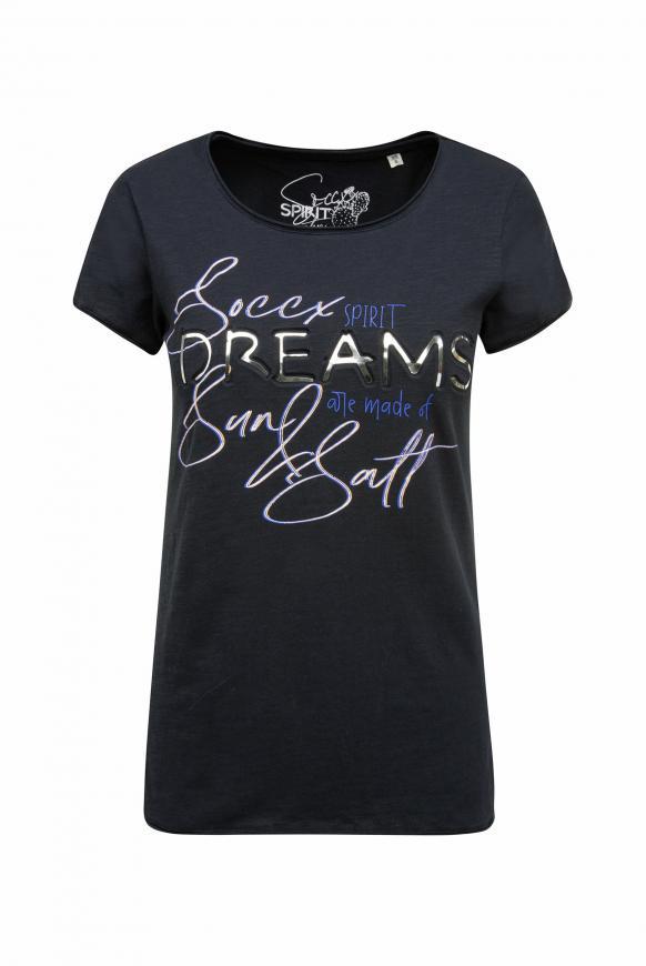 T-Shirt mit Used-Kanten und Artwork horizon navy