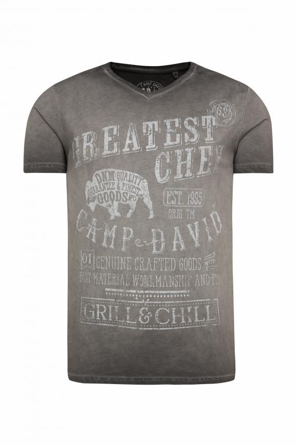 T-Shirt mit Used Print und Destroy-Effekten coal black