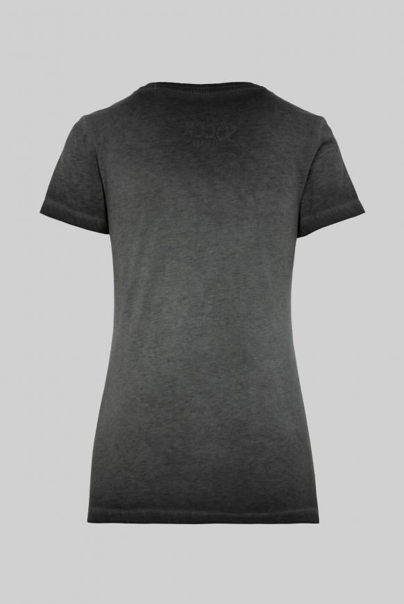 T-Shirt mit V-Ausschnitt und Pailletten-Logo