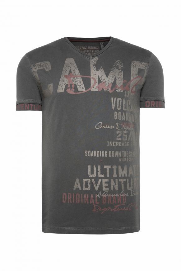 T-Shirt mit V-Ausschnitt und Used-Optik black