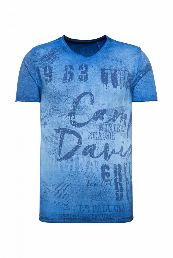 T-Shirt mit V-Neck und All Over Print cobalt
