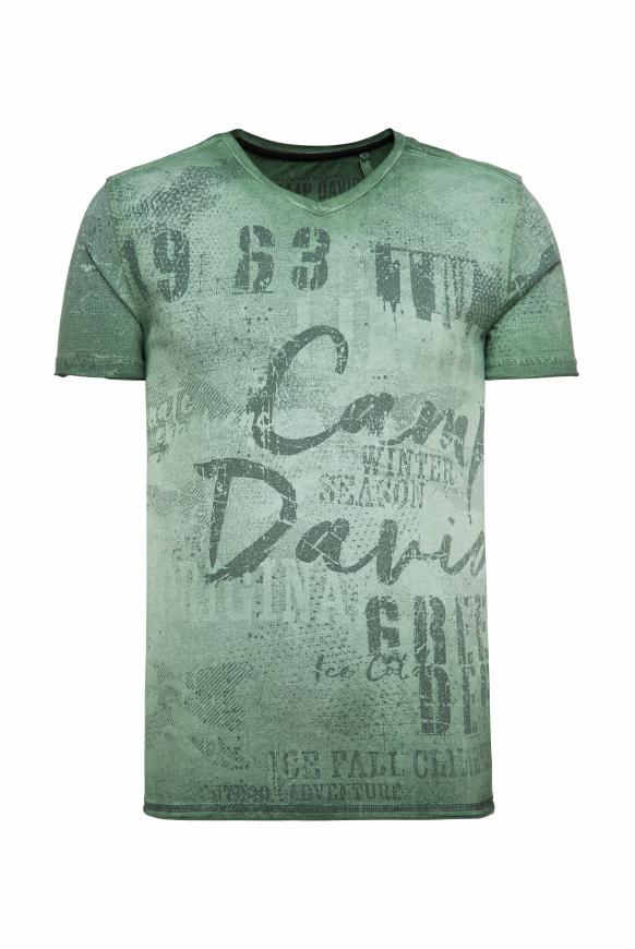 T-Shirt mit V-Neck und All Over Print pine