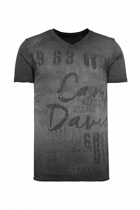 T-Shirt mit V-Neck und All Over Print ebony