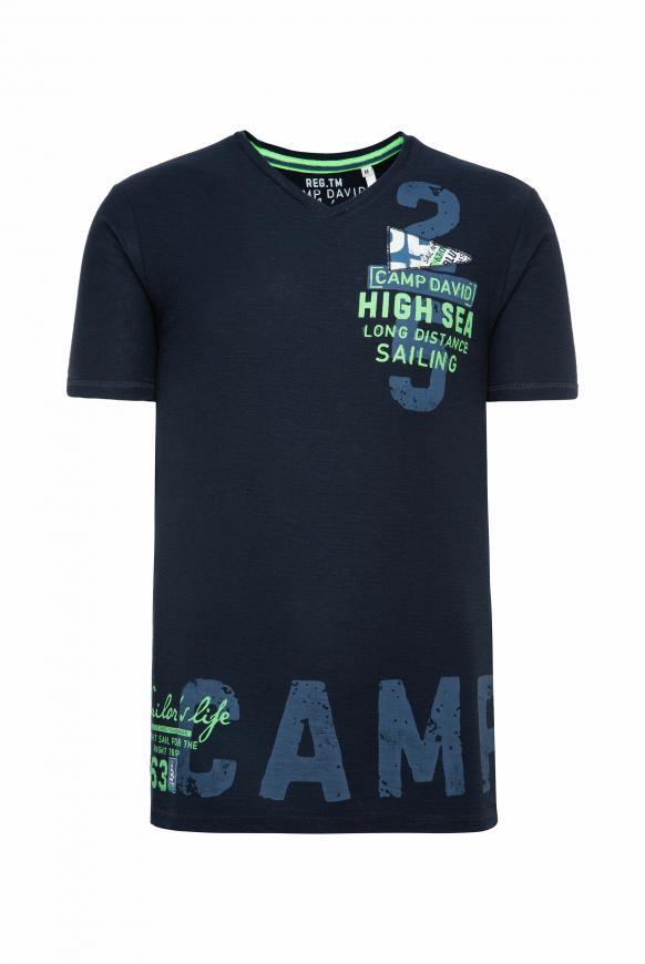 T-Shirt mit V-Neck und Artworks new navy
