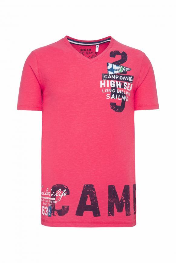 T-Shirt mit V-Neck und Artworks skipper red