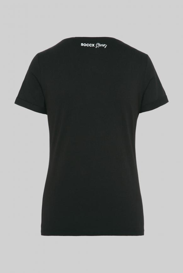 T-Shirt mit V-Neck und Pailletten-Wording black