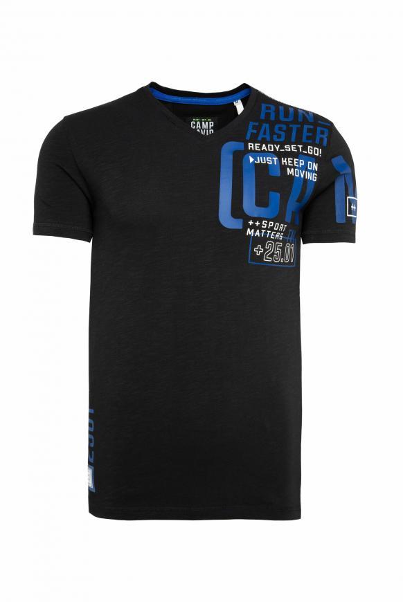 T-Shirt mit V-Neck und Print Artwork black