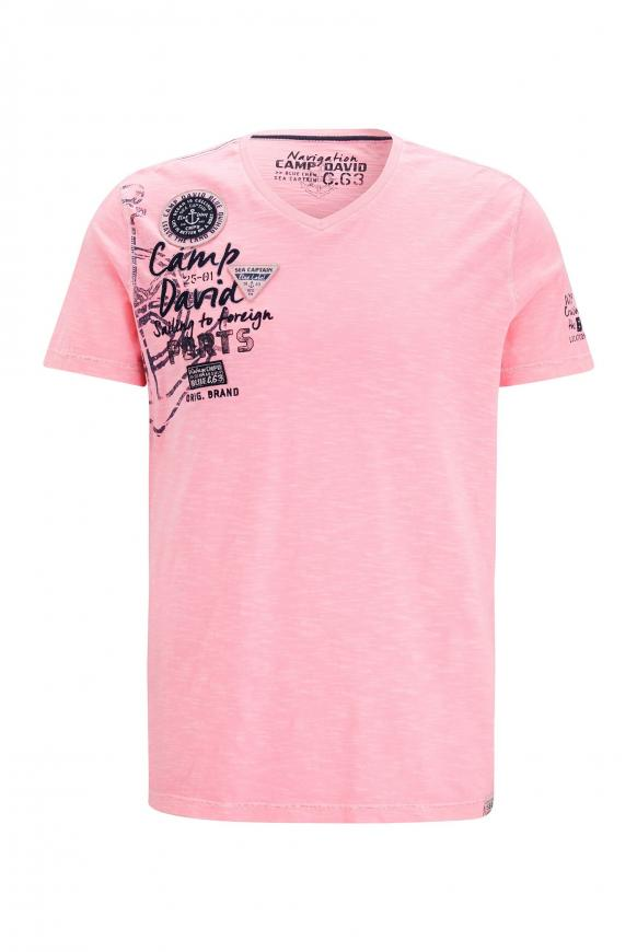 T-Shirt mit V-Neck und Rücken-Artwork neon pink