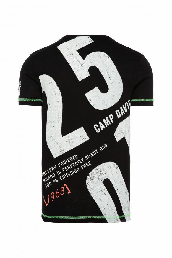 T-Shirt mit V-Neck und Rücken-Print black