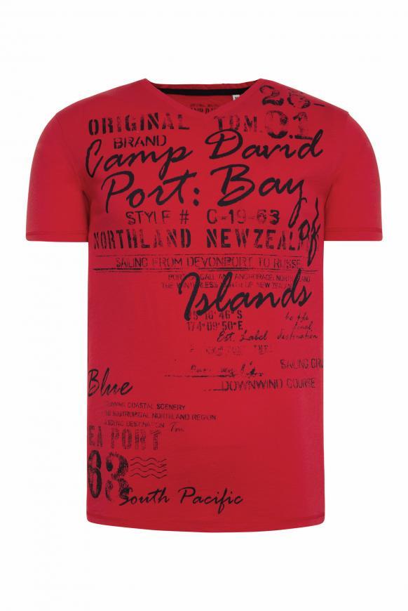 T-Shirt mit V-Neck und Used Print speed red
