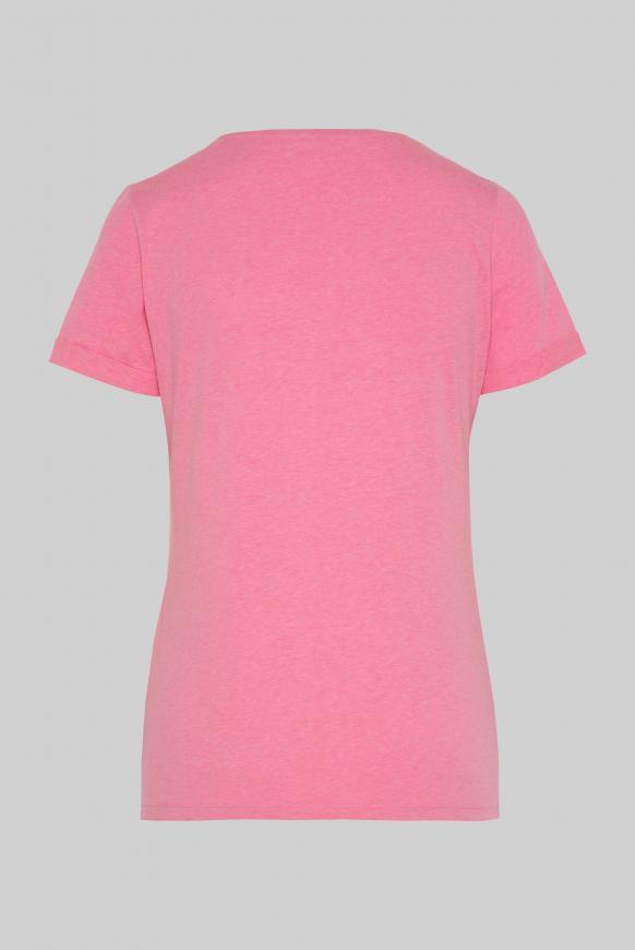 T-Shirt mit V-Neck und Wording Print paradise pink
