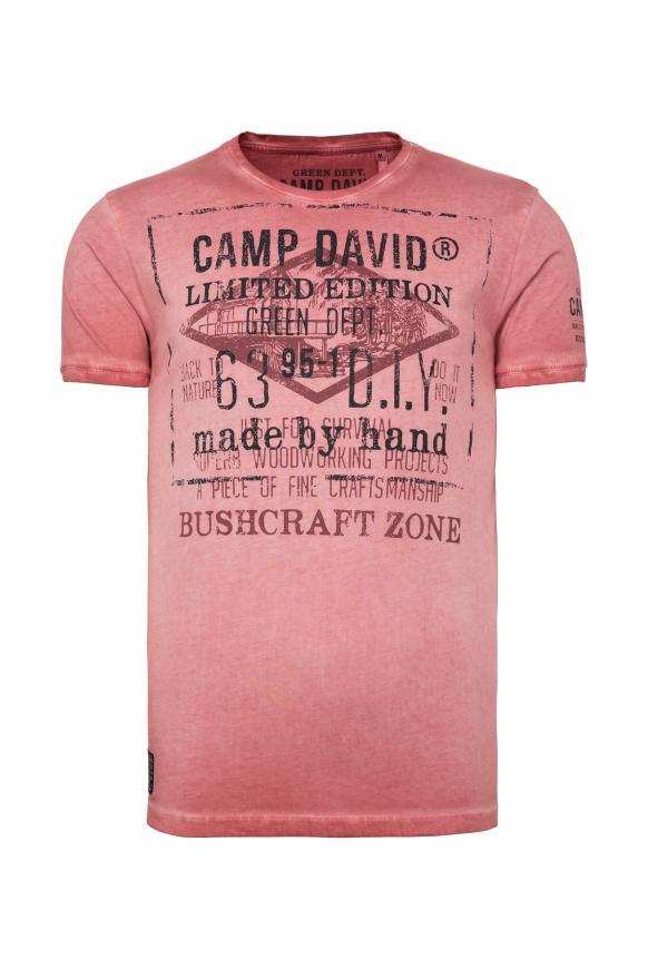 T-Shirt mit Vintage Print und Used-Färbung redwood