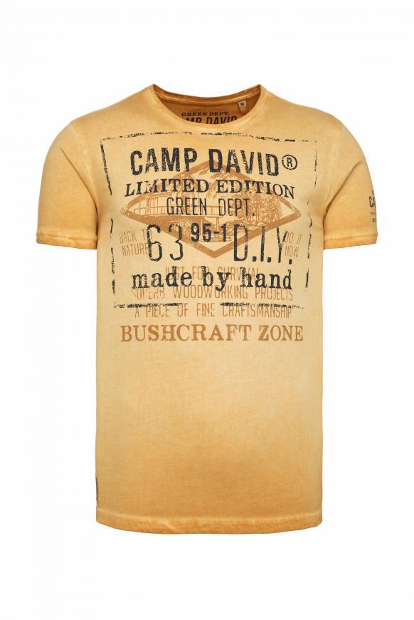 T-Shirt mit Vintage Print und Used-Färbung rising sun