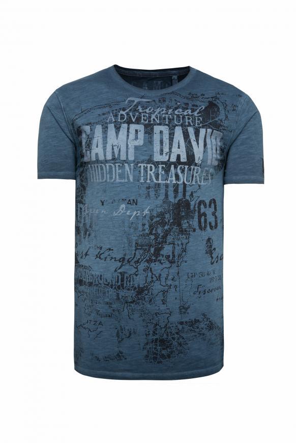 T-Shirt mit Watercolour Print deep sea