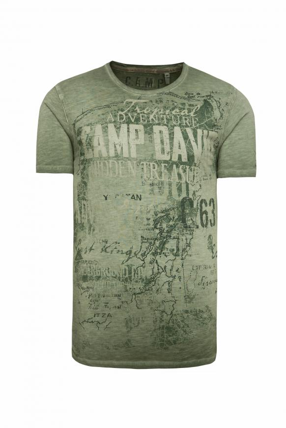 T-Shirt mit Watercolour Print jungle green