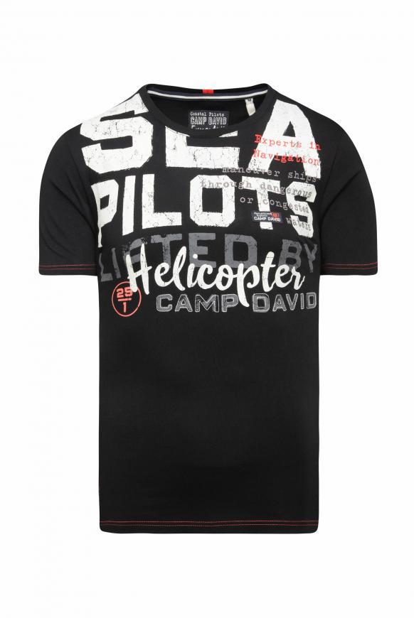 T-Shirt mit Wording Print und Stickereien black