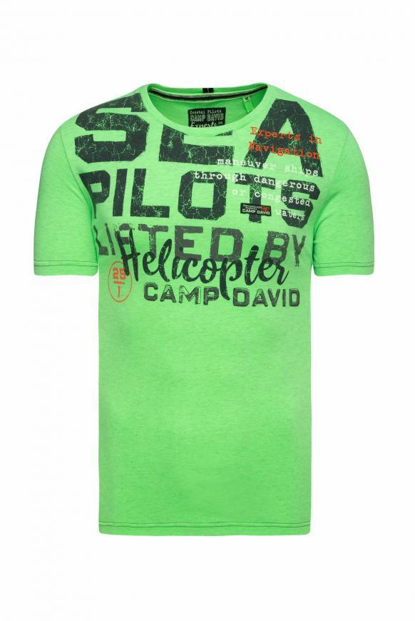 T-Shirt mit Wording Print und Stickereien neon green