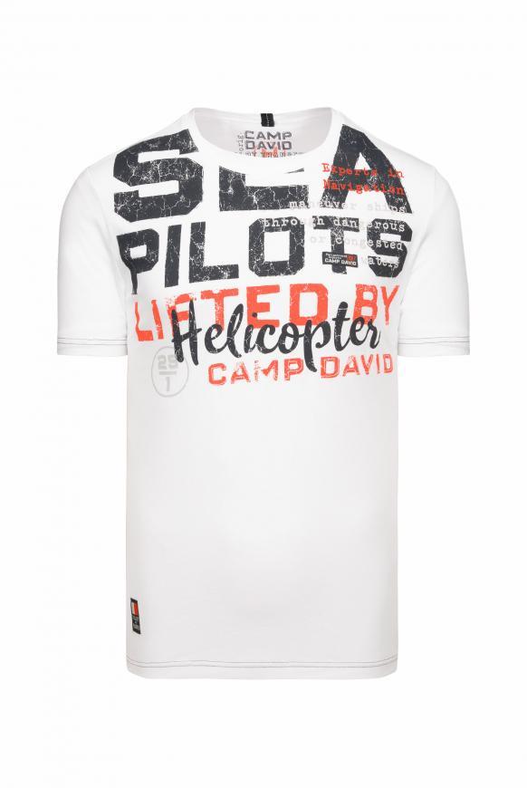 T-Shirt mit Wording Print und Stickereien pale white