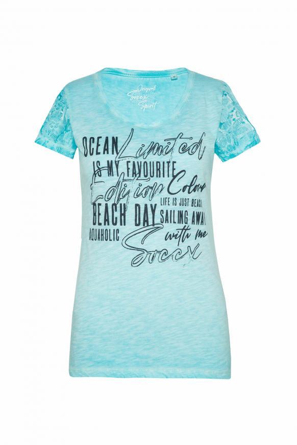 T-Shirt Oil Dyed mit Ärmeln aus Spitze cool aqua