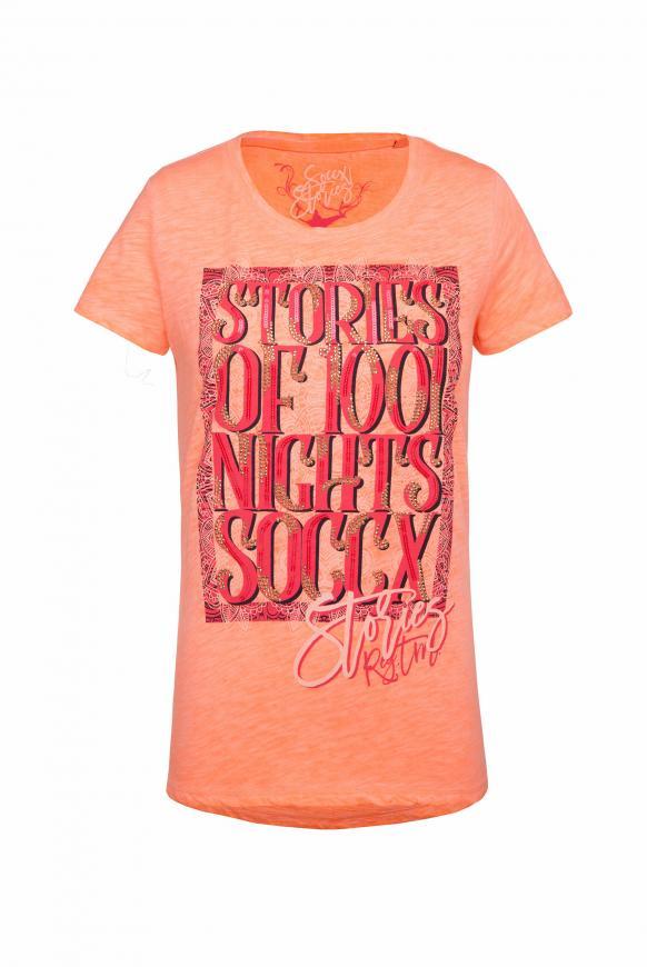 T-Shirt Oil Dyed mit Artwork spicy orange