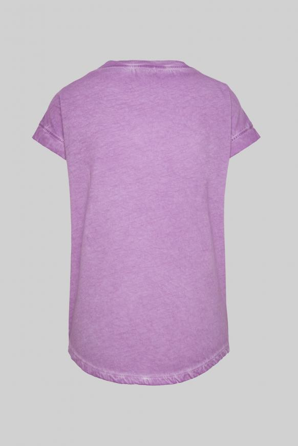 T-Shirt Oil Dyed mit Pailletten-Artwork lavender sky