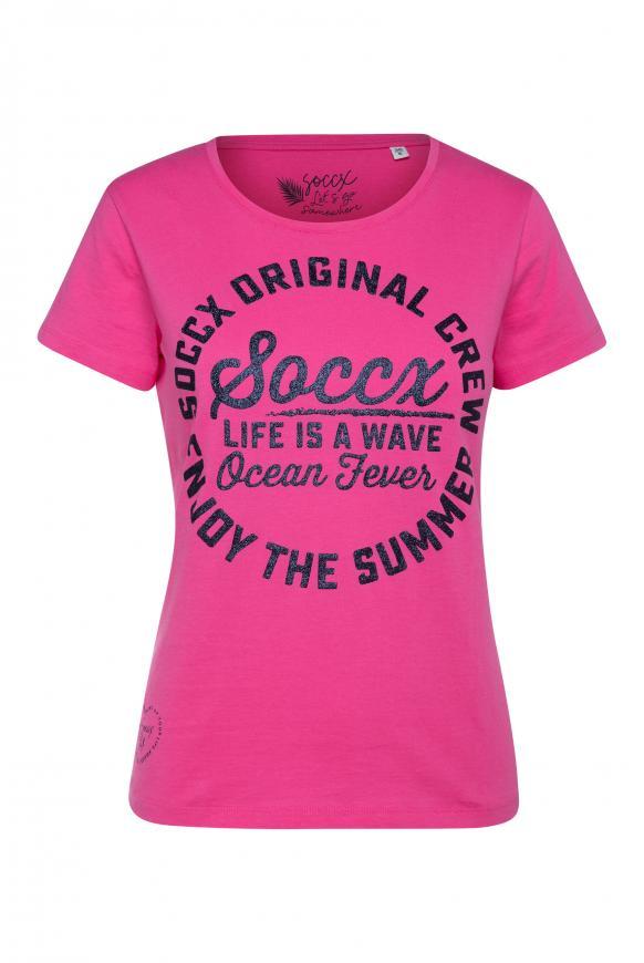 T-Shirt Rundhals mit Aufdruck oriental pink