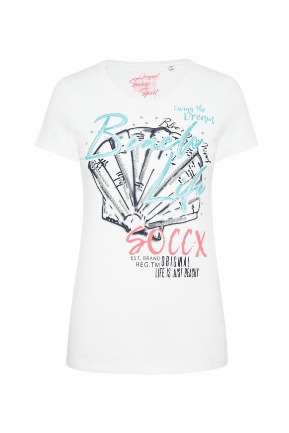 T-Shirt Rundhals mit Print-Artwork opticwhite