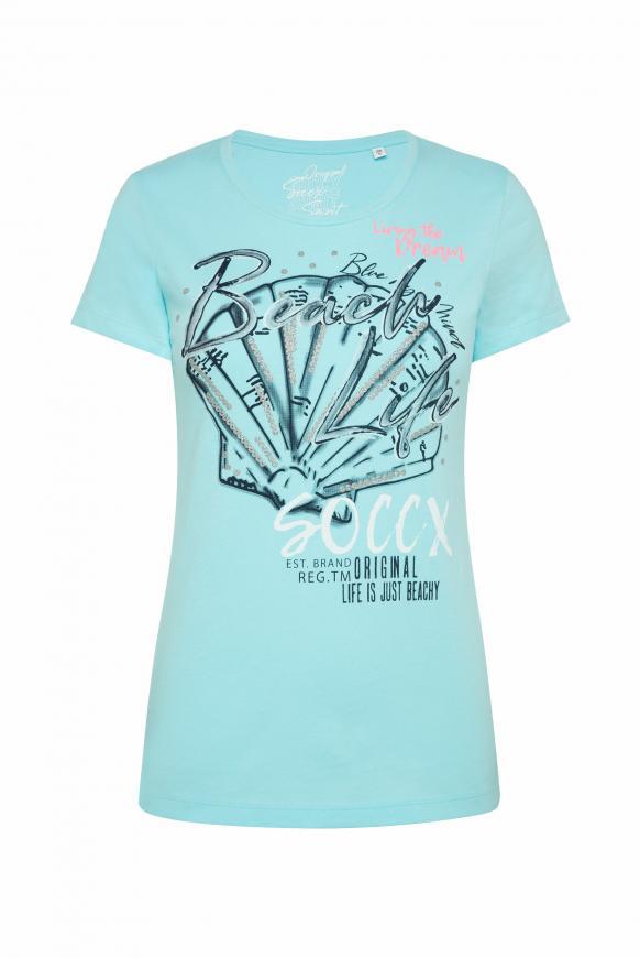 T-Shirt Rundhals mit Print-Artwork cool aqua