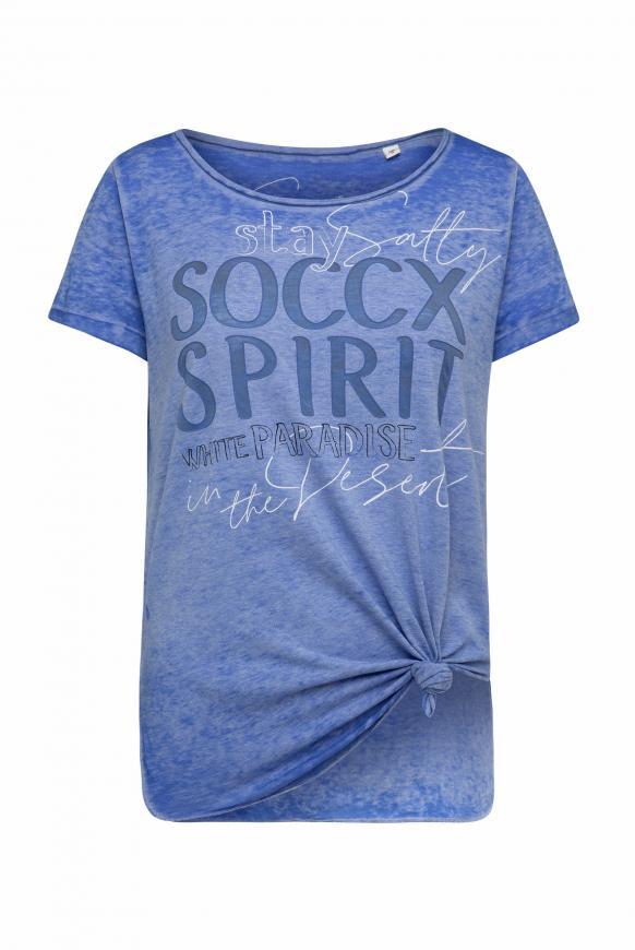 T-Shirt zum Knoten mit Ausbrennern und Artwork illusion blue