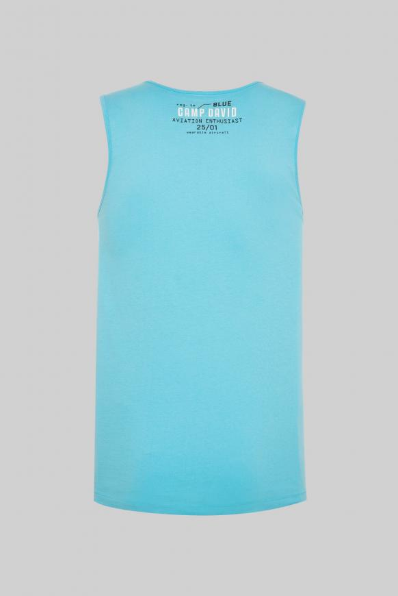 Tanktop mit Rubber Prints und Stickereien diving blue