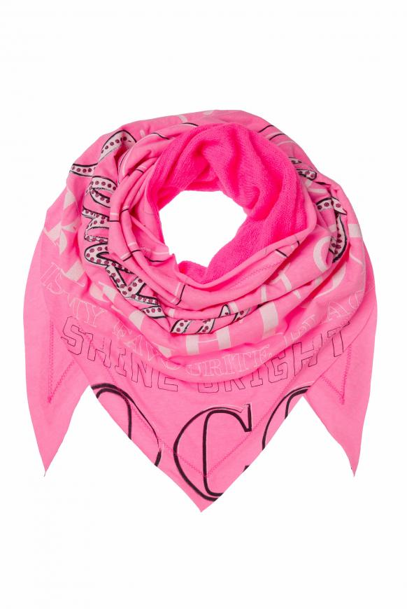 Triangle-Tuch im Materialmix mit Print knockout pink
