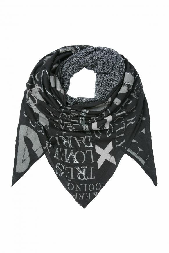 Triangle-Tuch im Materialmix mit Print black