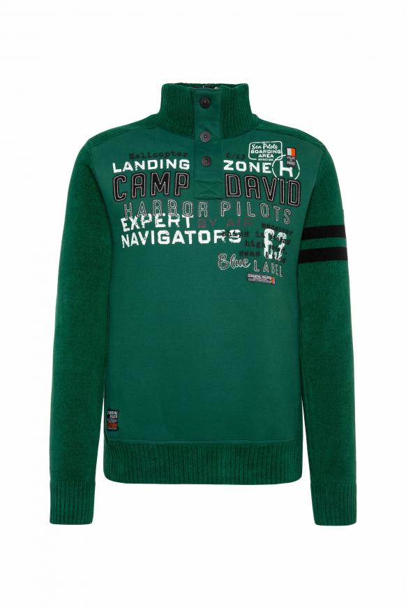 Troyer-Pullover im Materialmix mit Artwork green sea