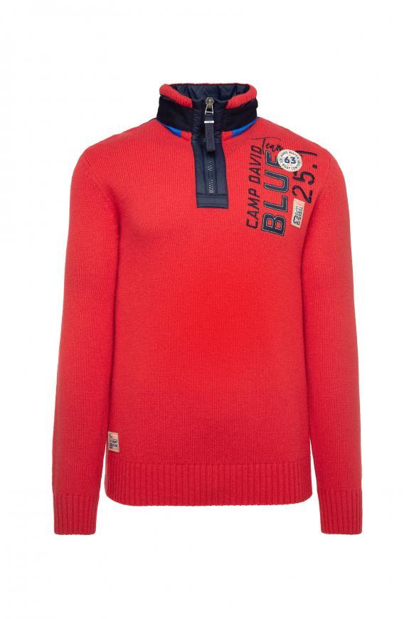 Troyer-Pullover mit Kapuze und Artwork speed red