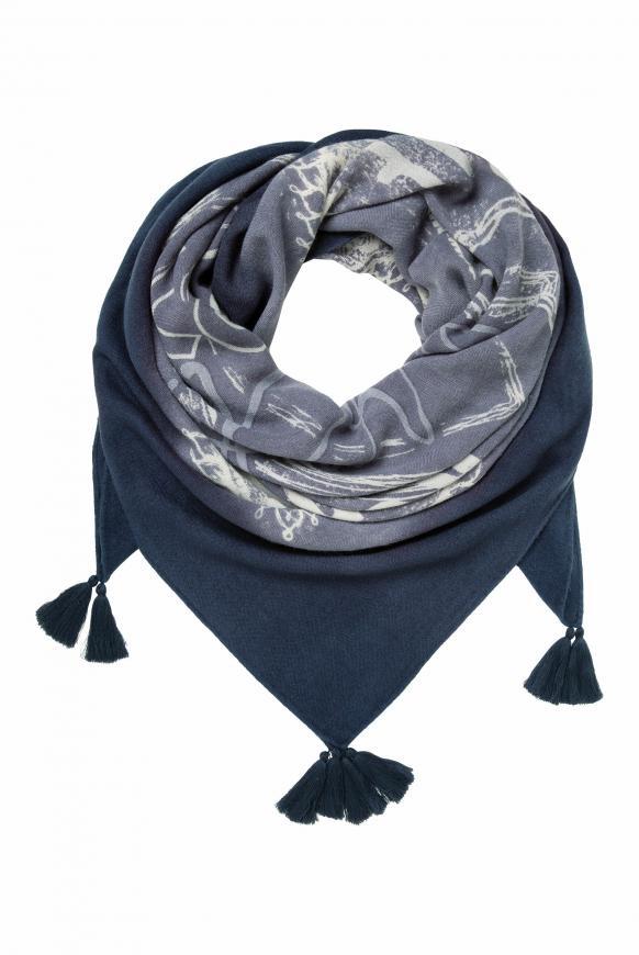 Tuch mit Dip-Dye-Effekt und Print moroccan blue