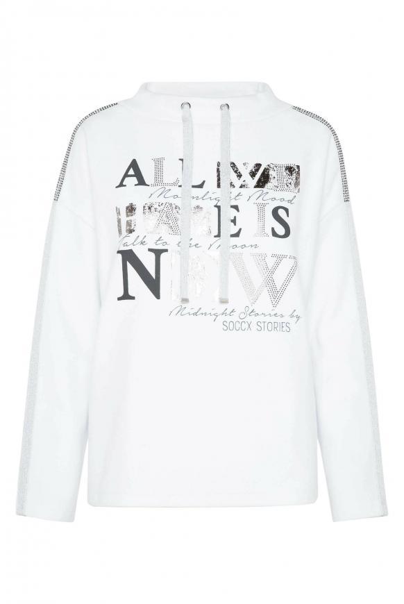 Turtleneck-Sweatshirt mit Artwork opticwhite