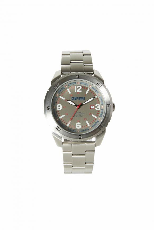 Uhr aus Edelstahl mit Gliederarmband steel silver