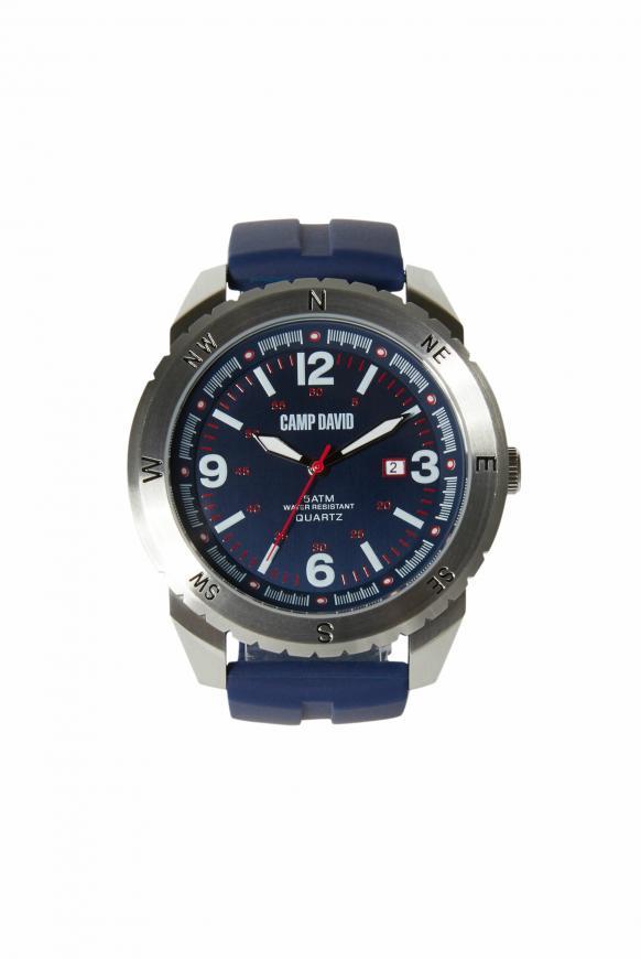 Uhr aus Edelstahl mit Silikonarmband navy blue