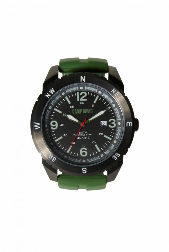 Uhr aus Edelstahl mit Silikonarmband charcoal