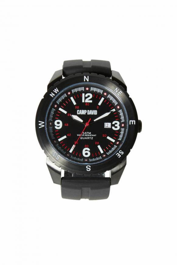 Uhr aus Edelstahl mit Silikonarmband black