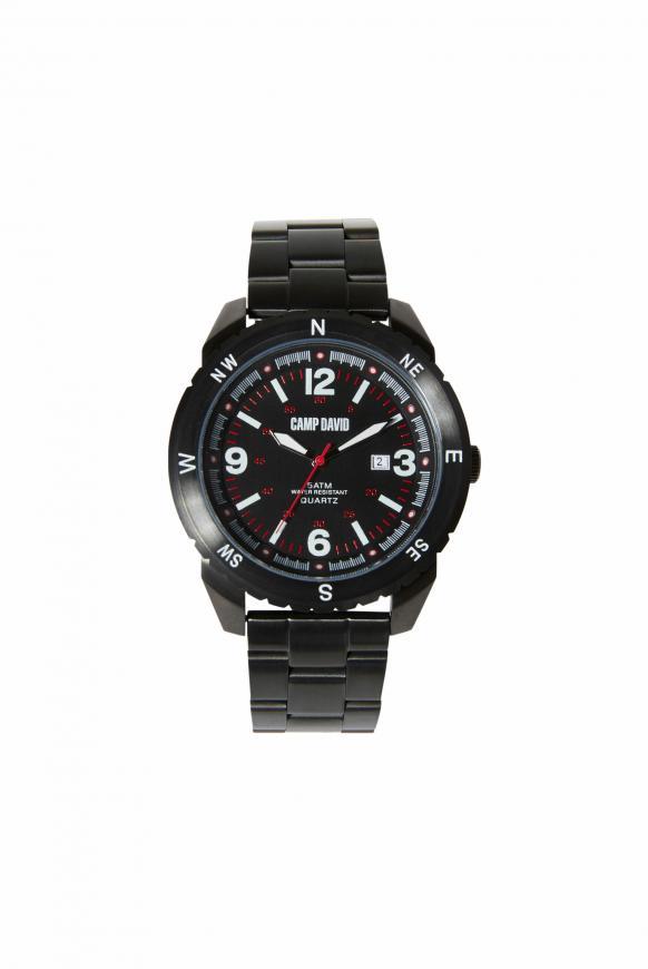 Uhr aus mattem Edelstahl mit Gliederarmband steel black