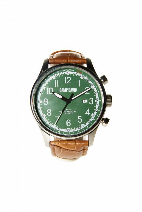 Uhr aus Stahl mit strukturiertem Lederarmband green