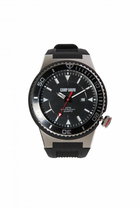 Uhr mit Tauchlünette und Silikonarmband black